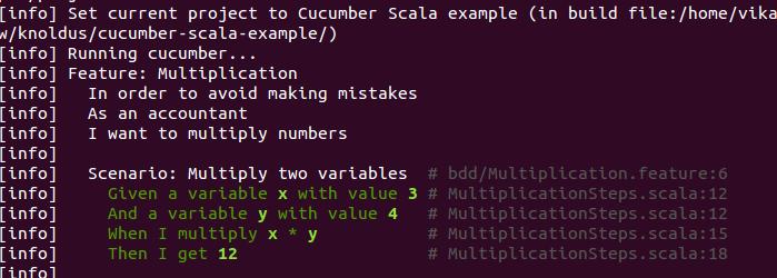 cucumber run output