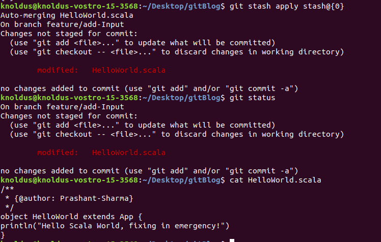 stash is applied and content is merged with the emergency commit.