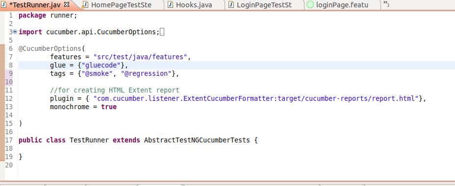 Tags In Cucumber Framework in Runner File